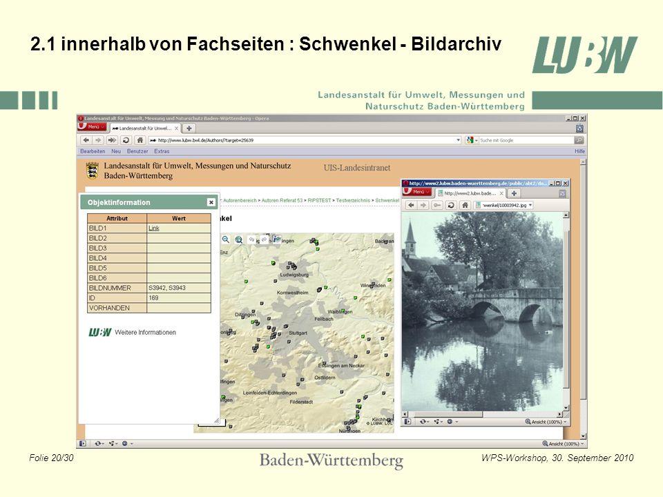 Folie 20/30WPS-Workshop, 30. September 2010 2.1 innerhalb von Fachseiten : Schwenkel - Bildarchiv