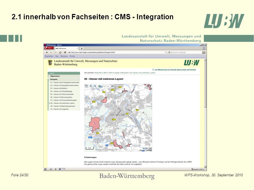 Folie 24/30WPS-Workshop, 30. September 2010 2.1 innerhalb von Fachseiten : CMS - Integration