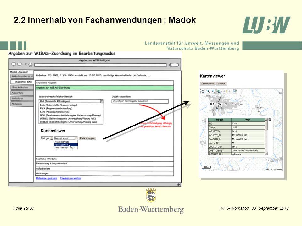 Folie 25/30WPS-Workshop, 30. September 2010 2.2 innerhalb von Fachanwendungen : Madok