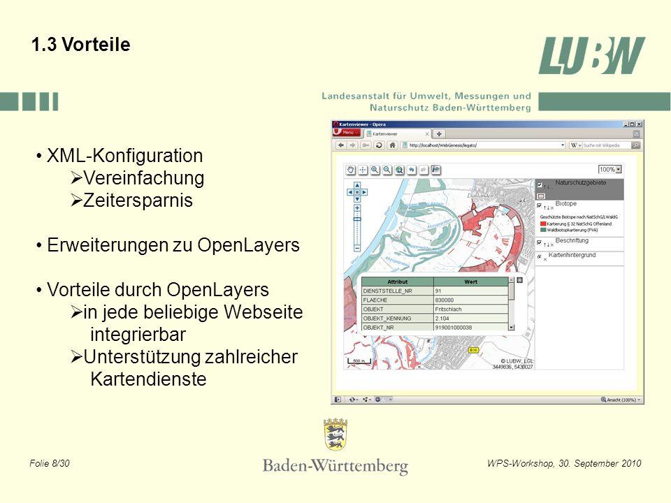 Folie 8/30WPS-Workshop, 30. September 2010 1.3 Vorteile XML-Konfiguration Vereinfachung Zeitersparnis Erweiterungen zu OpenLayers Vorteile durch OpenL