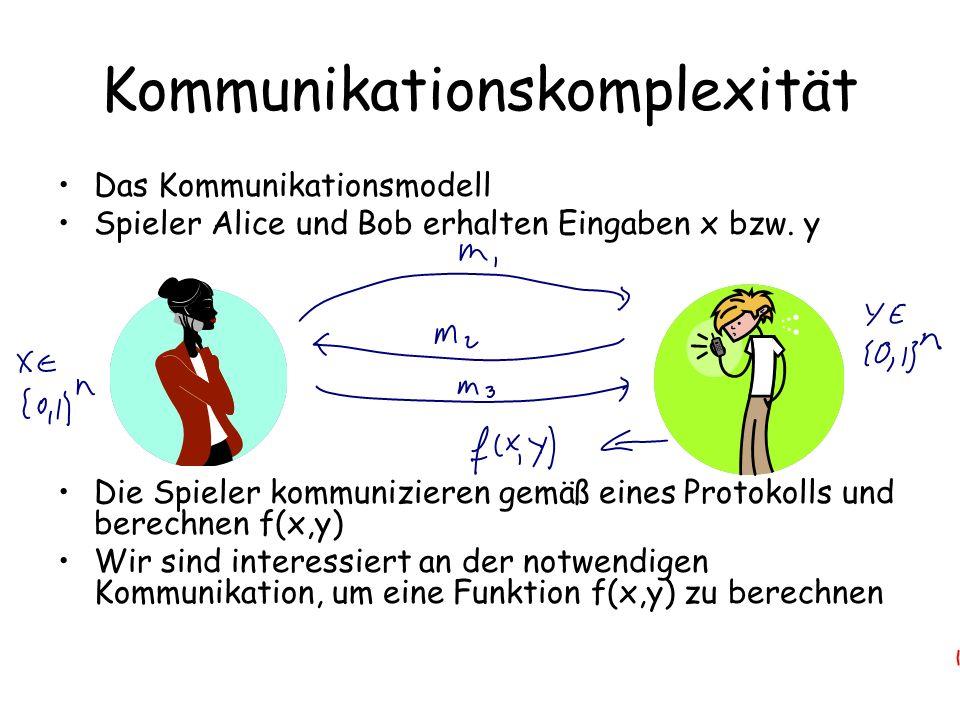 Kommunikationskomplexität Das Kommunikationsmodell Spieler Alice und Bob erhalten Eingaben x bzw.