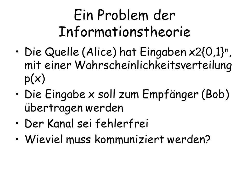 Ein Problem der Informationstheorie Die Quelle (Alice) hat Eingaben x 2 {0,1} n, mit einer Wahrscheinlichkeitsverteilung p(x) Die Eingabe x soll zum Empfänger (Bob) übertragen werden Der Kanal sei fehlerfrei Wieviel muss kommuniziert werden?