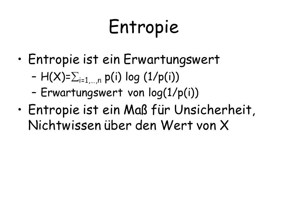 Entropie Entropie ist ein Erwartungswert –H(X)= i=1,…,n p(i) log (1/p(i)) –Erwartungswert von log(1/p(i)) Entropie ist ein Maß für Unsicherheit, Nichtwissen über den Wert von X