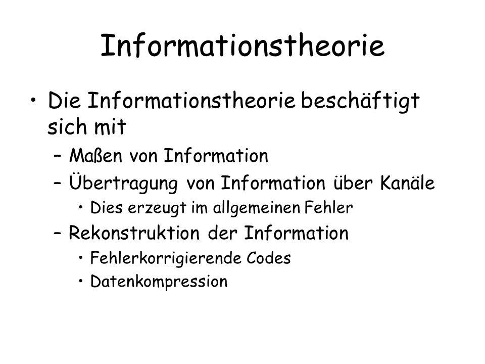 Informationstheorie Die Informationstheorie beschäftigt sich mit –Maßen von Information –Übertragung von Information über Kanäle Dies erzeugt im allgemeinen Fehler –Rekonstruktion der Information Fehlerkorrigierende Codes Datenkompression