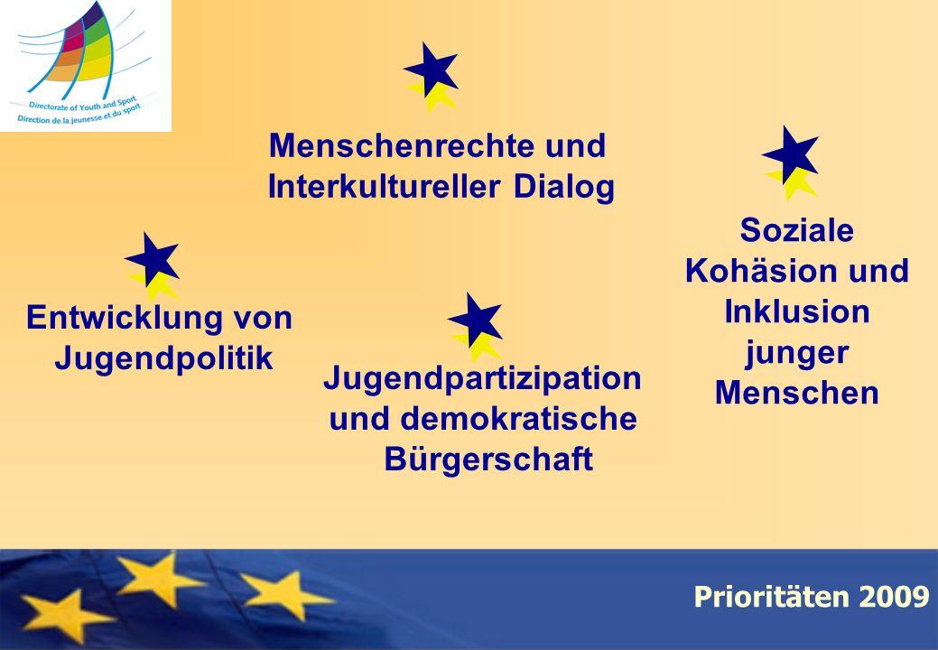 Council of Europe Prioritäten 2009 Menschenrechte und Interkultureller Dialog Soziale Kohäsion und Inklusion junger Menschen Jugendpartizipation und demokratische Bürgerschaft Entwicklung von Jugendpolitik