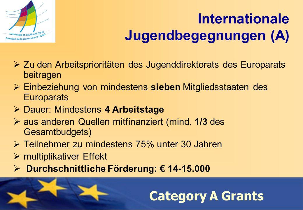 Council of Europe Category A Grants Internationale Jugendbegegnungen (A) Zu den Arbeitsprioritäten des Jugenddirektorats des Europarats beitragen Einbeziehung von mindestens sieben Mitgliedsstaaten des Europarats Dauer: Mindestens 4 Arbeitstage aus anderen Quellen mitfinanziert (mind.