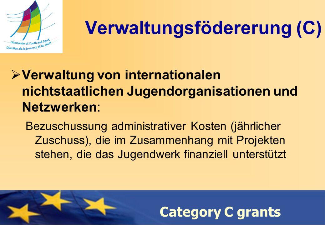 Council of Europe Category C grants Verwaltungsfödererung (C) Verwaltung von internationalen nichtstaatlichen Jugendorganisationen und Netzwerken: Bezuschussung administrativer Kosten (jährlicher Zuschuss), die im Zusammenhang mit Projekten stehen, die das Jugendwerk finanziell unterstützt