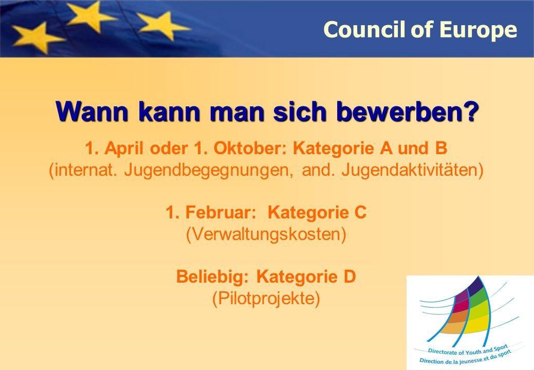 Council of Europe Wann kann man sich bewerben. 1.