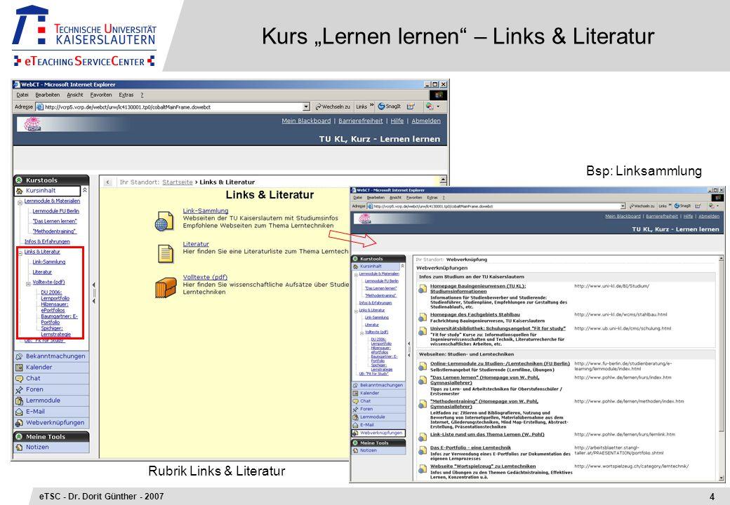 Kurs Lernen lernen – Links & Literatur 4 eTSC - Dr. Dorit Günther - 2007 Bsp: Linksammlung Rubrik Links & Literatur