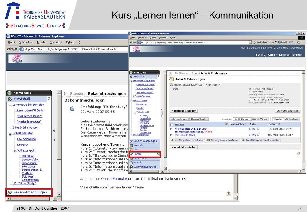 Kurs Lernen lernen – Kommunikation 5 eTSC - Dr. Dorit Günther - 2007