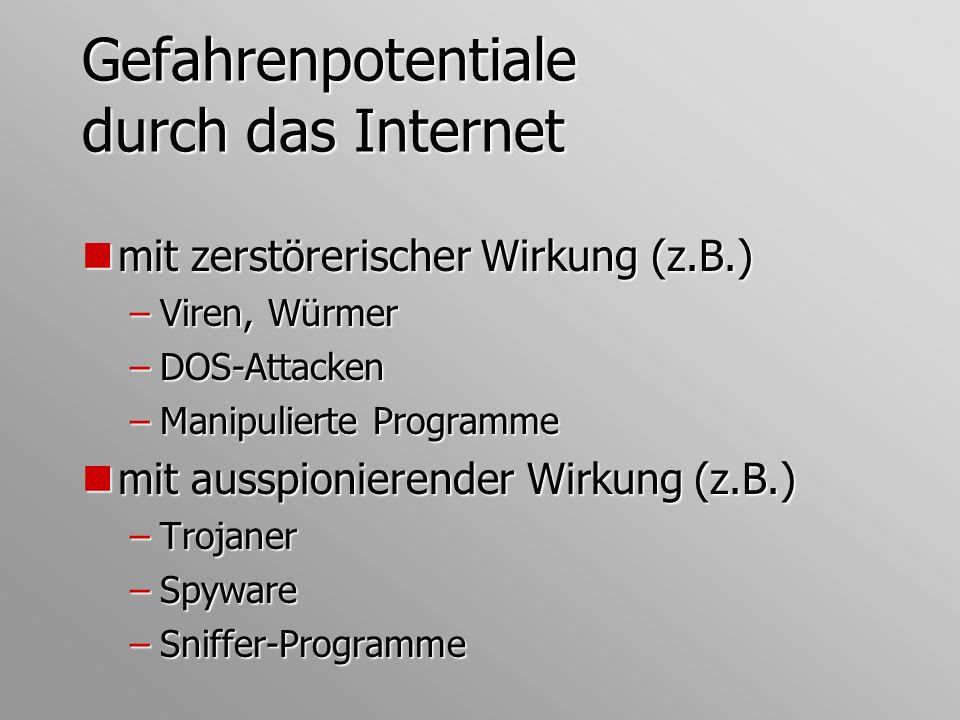 Gefahrenpotentiale durch das Internet nmit zerstörerischer Wirkung (z.B.) –Viren, Würmer –DOS-Attacken –Manipulierte Programme nmit ausspionierender W