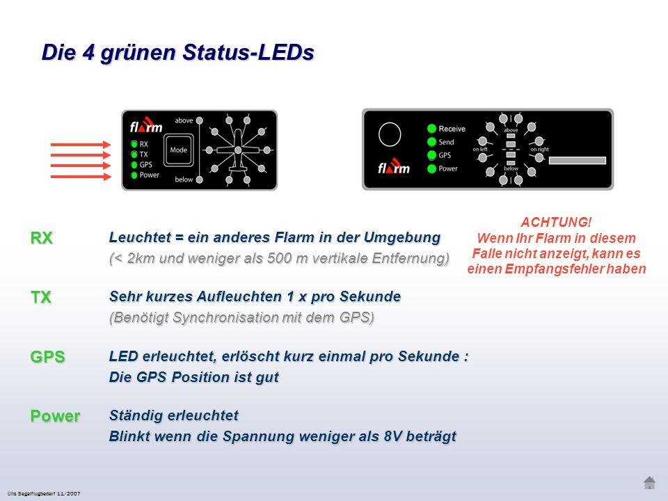 Der « Mode » Knopf Kurzes Klicken (< 0.8 Sek) Mittleres Klicken (1 bis 8 Sek) Doppelklicken Langes Klicken (> 8 Sek) Zurücksetzen/Reset Sehr langes Klicken (> 20 Sek)Werkseinstellungen wiederherstellen Ülis Segelflugbedarf 11/2007 Sinnvoll beim Thermikkreisen mit mehreren Segelflugzeugen Lauter Ton MittelSchwachAus Warningmodus Nearestsmodus Unterdrückt optische und akustische Alarme für 5 Minuten (begleitet von Aktiviert die Alarme