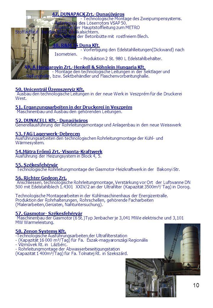 11 59, Biodiesel Werk-Tatabánya - Ausbau der Schaumleitungen.