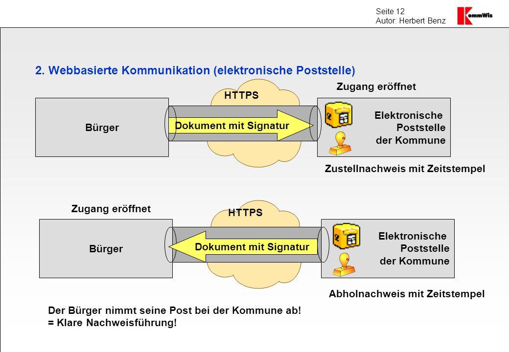 Seite 12 Autor: Herbert Benz 2. Webbasierte Kommunikation (elektronische Poststelle) Bürger Elektronische Poststelle der Kommune Zugang eröffnet Dokum