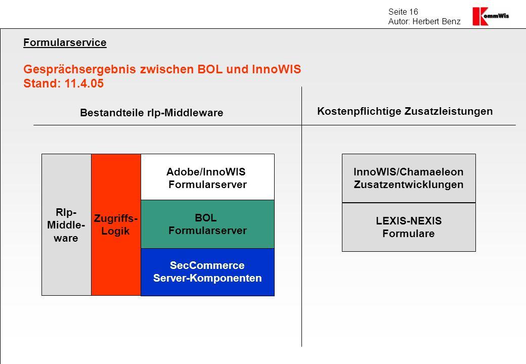 Seite 16 Autor: Herbert Benz Formularservice Gesprächsergebnis zwischen BOL und InnoWIS Stand: 11.4.05 SecCommerce Server-Komponenten Adobe/InnoWIS Fo