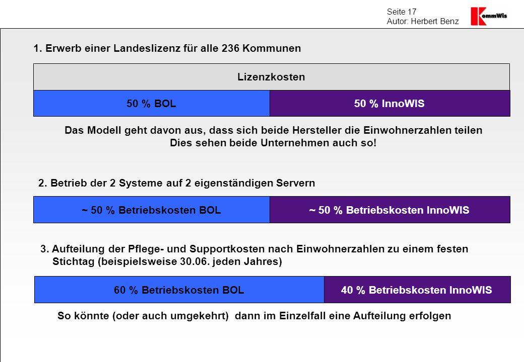 Seite 17 Autor: Herbert Benz 1. Erwerb einer Landeslizenz für alle 236 Kommunen Lizenzkosten 50 % BOL50 % InnoWIS Das Modell geht davon aus, dass sich