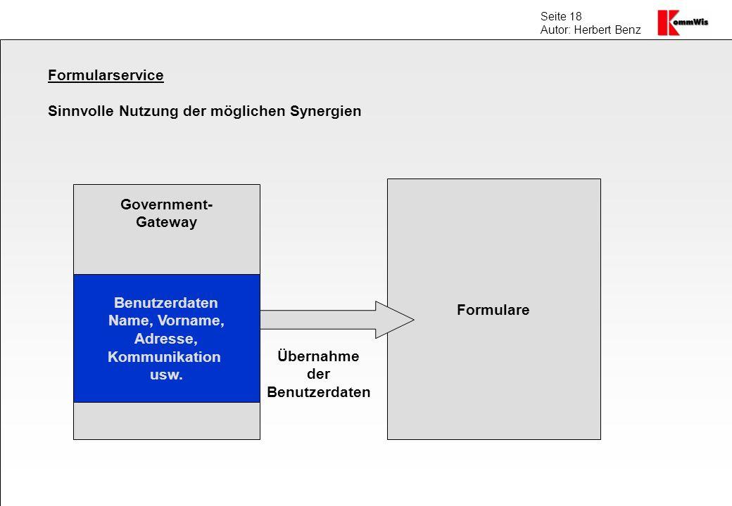 Seite 18 Autor: Herbert Benz Formularservice Sinnvolle Nutzung der möglichen Synergien Government- Gateway Benutzerdaten Name, Vorname, Adresse, Kommu