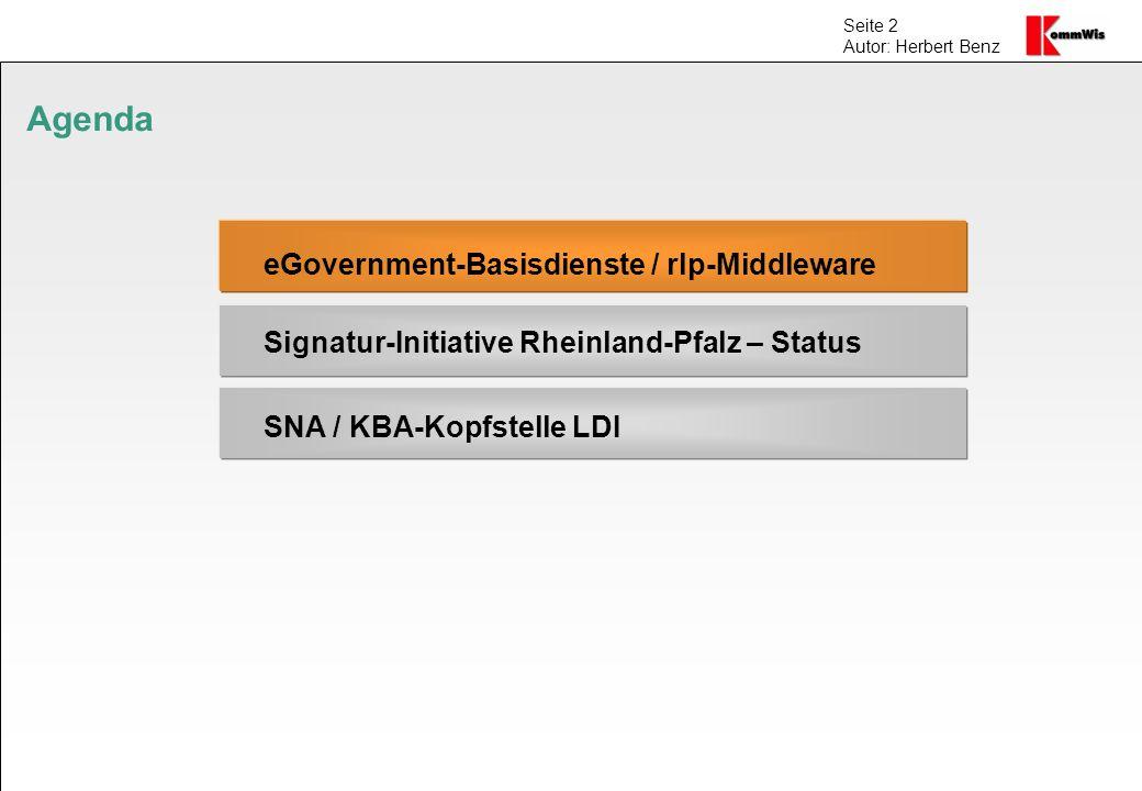 Seite 2 Autor: Herbert Benz Agenda eGovernment-Basisdienste / rlp-Middleware Signatur-Initiative Rheinland-Pfalz – Status SNA / KBA-Kopfstelle LDI
