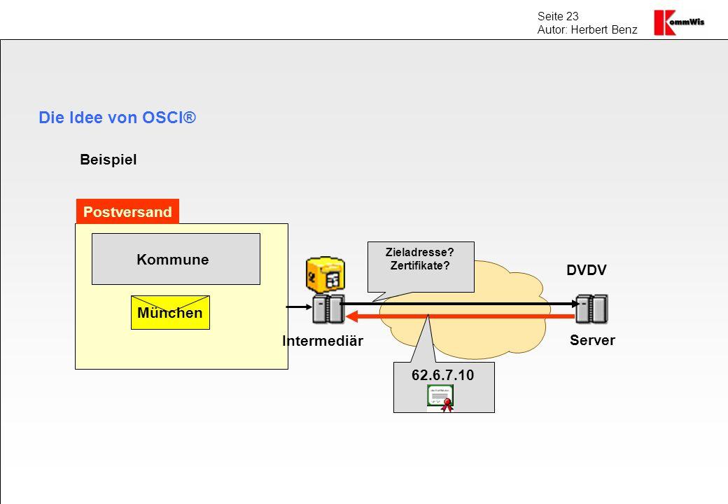 Seite 23 Autor: Herbert Benz Die Idee von OSCI® Kommune München Intermediär Server DVDV Zieladresse? Zertifikate? 62.6.7.10 Beispiel Postversand