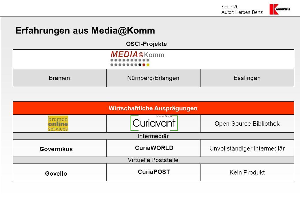 Seite 26 Autor: Herbert Benz Erfahrungen aus Media@Komm BremenNürnberg/ErlangenEsslingen Wirtschaftliche Ausprägungen Open Source Bibliothek Unvollstä