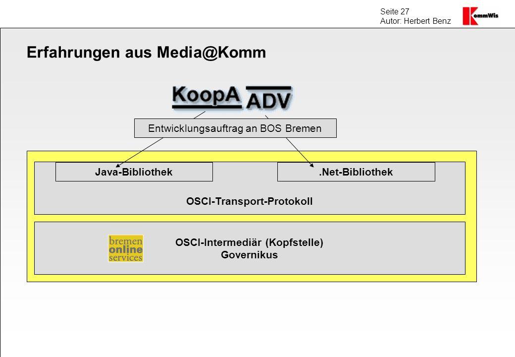 Seite 27 Autor: Herbert Benz Erfahrungen aus Media@Komm OSCI-Transport-Protokoll OSCI-Intermediär (Kopfstelle) Governikus Java-Bibliothek.Net-Biblioth
