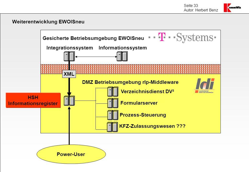 Seite 33 Autor: Herbert Benz DMZ Betriebsumgebung rlp-Middleware Gesicherte Betriebsumgebung EWOISneu IntegrationssystemInformationssystem HSH Informa