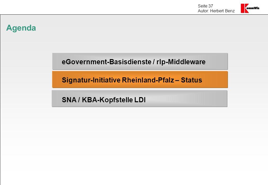 Seite 37 Autor: Herbert Benz Agenda eGovernment-Basisdienste / rlp-Middleware Signatur-Initiative Rheinland-Pfalz – Status SNA / KBA-Kopfstelle LDI