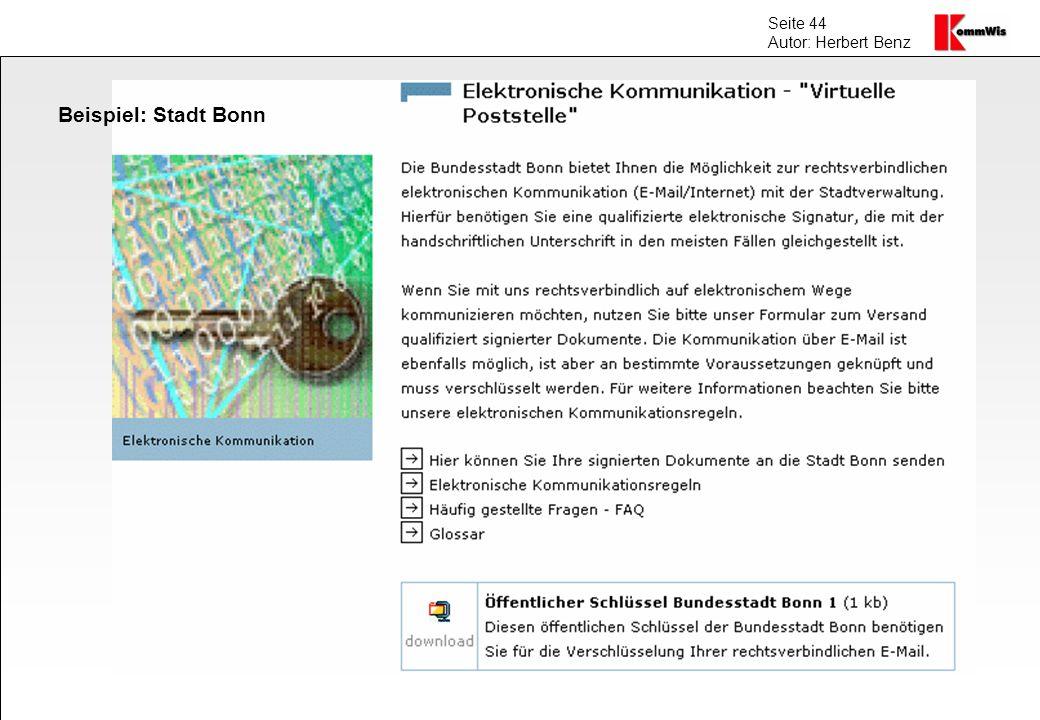 Seite 44 Autor: Herbert Benz Beispiel: Stadt Bonn
