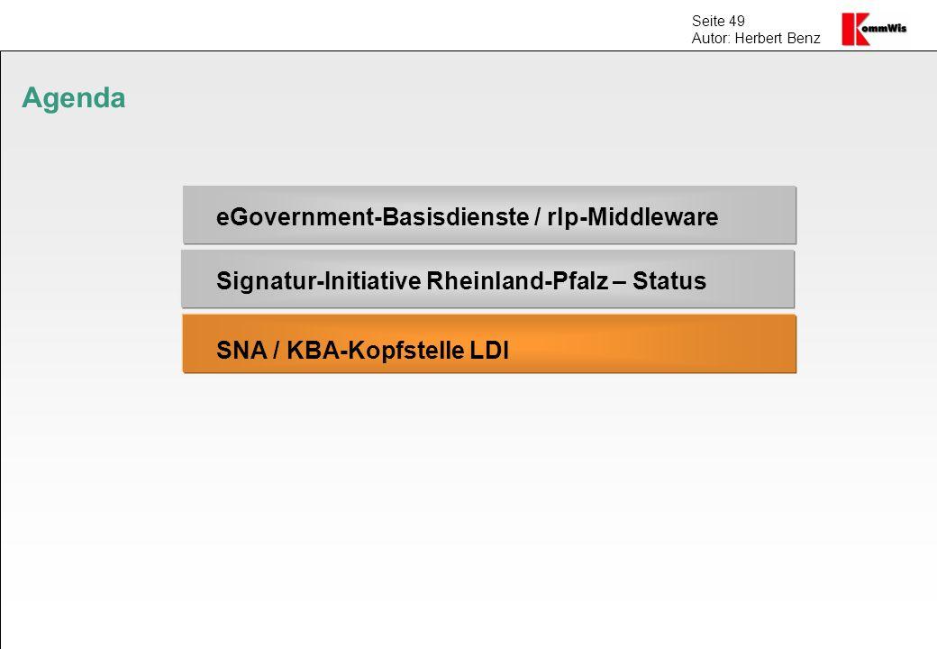 Seite 49 Autor: Herbert Benz Agenda eGovernment-Basisdienste / rlp-Middleware Signatur-Initiative Rheinland-Pfalz – Status SNA / KBA-Kopfstelle LDI