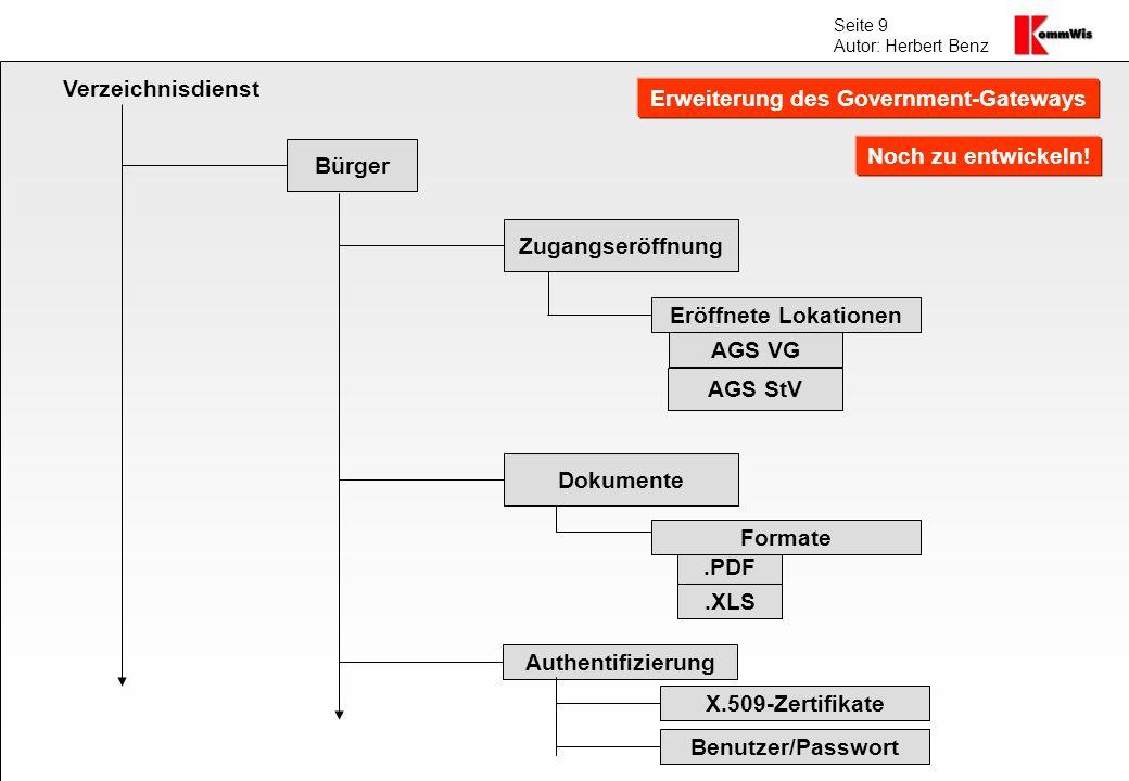 Seite 9 Autor: Herbert Benz Verzeichnisdienst Bürger Zugangseröffnung.PDF AGS VG AGS StV Authentifizierung Eröffnete Lokationen Dokumente Formate.XLS