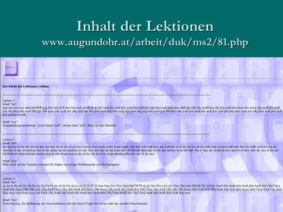 Begleitende Maßnahmen Webseite für grundlegende ErklärungenWebseite für grundlegende Erklärungen –Tastaturbild, Schreibhaltung, etc.