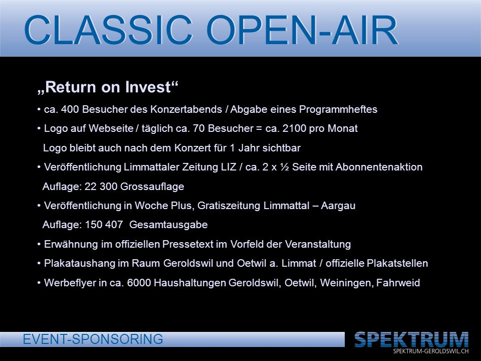 CLASSIC OPEN-AIR EVENT-SPONSORING Return on Invest ca.