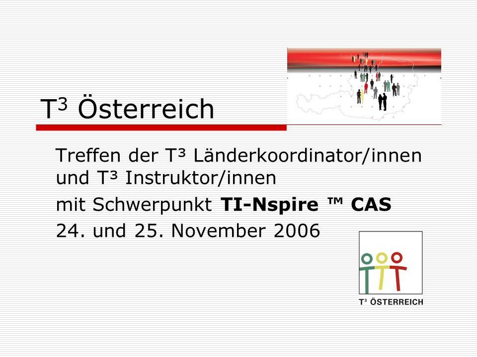 T 3 Österreich Treffen der T³ Länderkoordinator/innen und T³ Instruktor/innen mit Schwerpunkt TI-Nspire CAS 24. und 25. November 2006