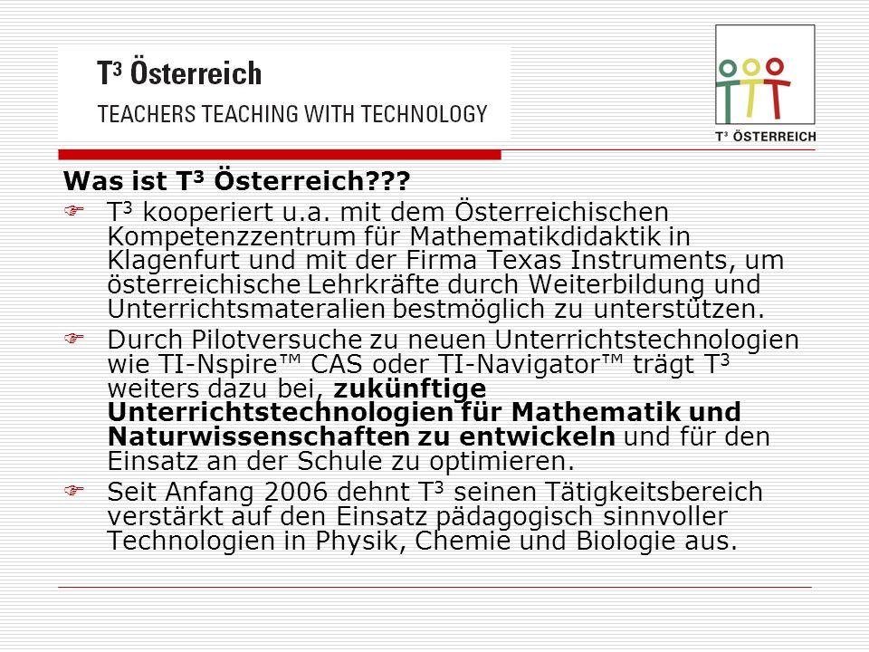Was ist T 3 Österreich??? T 3 kooperiert u.a. mit dem Österreichischen Kompetenzzentrum für Mathematikdidaktik in Klagenfurt und mit der Firma Texas I