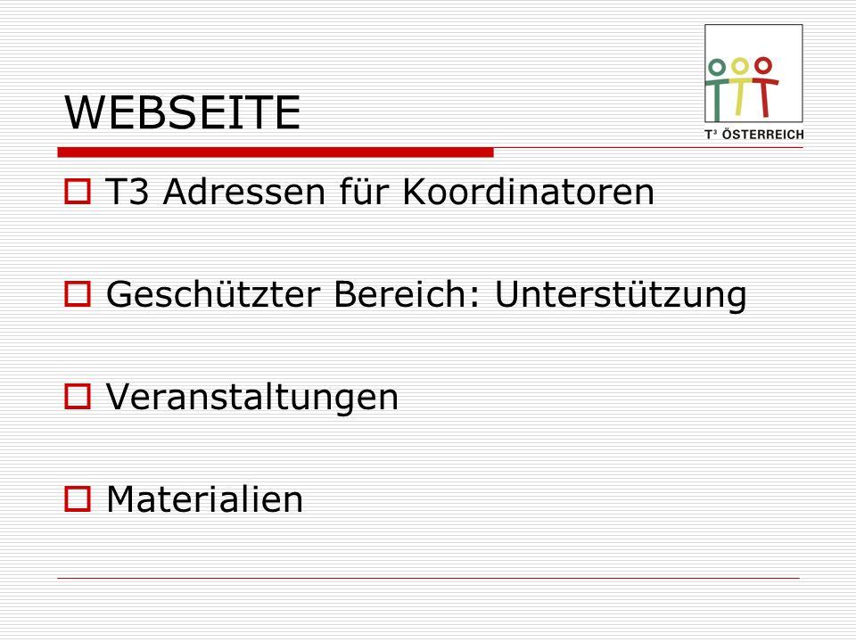 WEBSEITE T3 Adressen für Koordinatoren Geschützter Bereich: Unterstützung Veranstaltungen Materialien
