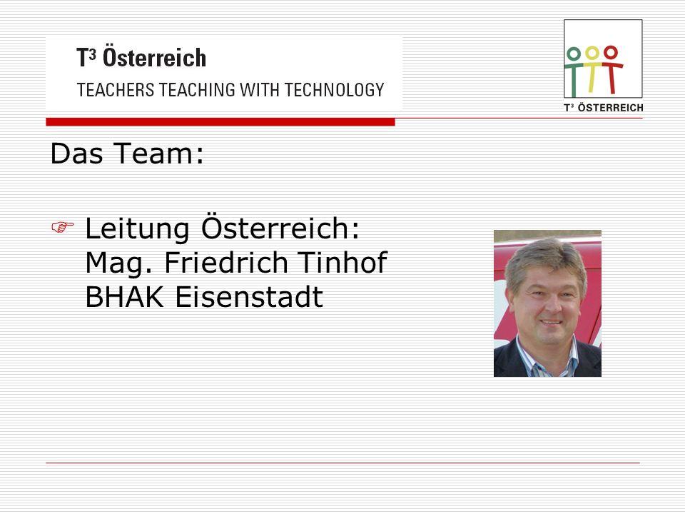 Das Team: Leitung Österreich: Mag. Friedrich Tinhof BHAK Eisenstadt