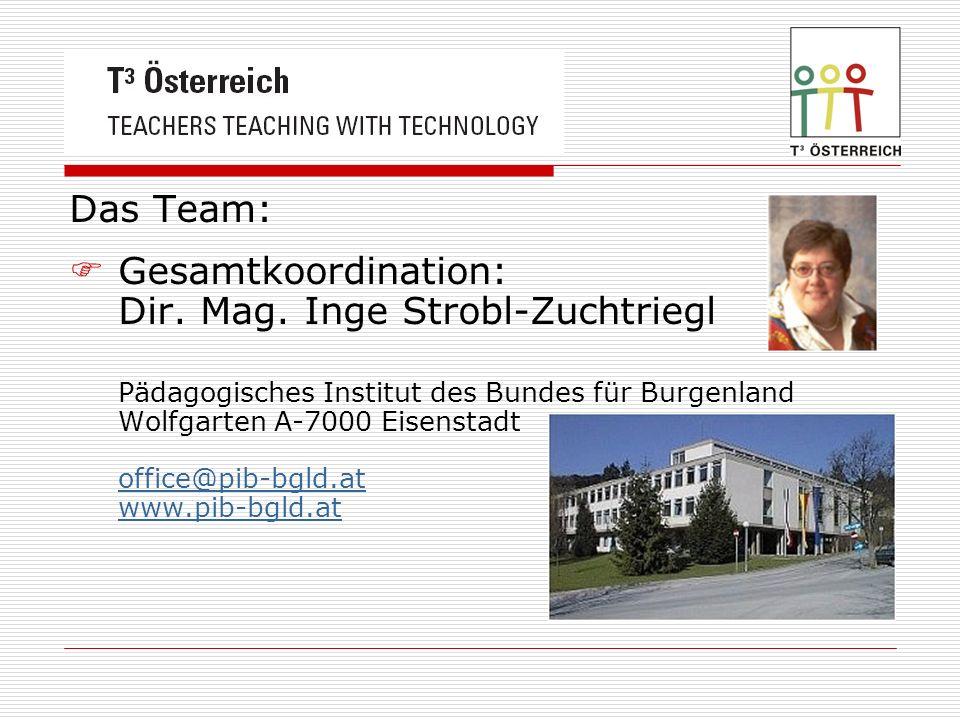 Das Team: Gesamtkoordination: Dir. Mag. Inge Strobl-Zuchtriegl Pädagogisches Institut des Bundes für Burgenland Wolfgarten A-7000 Eisenstadt office@pi