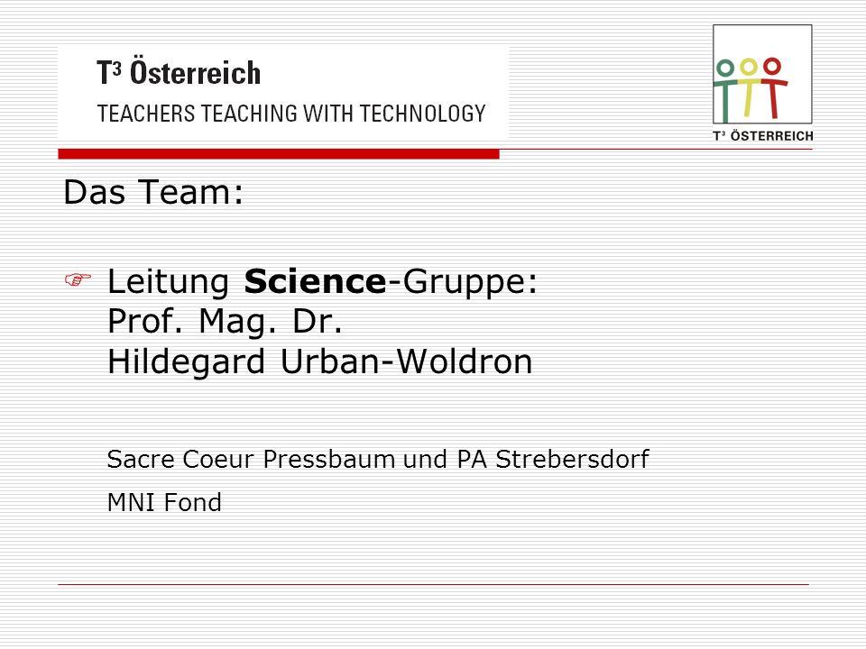 Das Team: Leitung Science-Gruppe: Prof. Mag. Dr. Hildegard Urban-Woldron Sacre Coeur Pressbaum und PA Strebersdorf MNI Fond