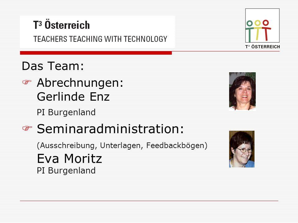 Das Team: Abrechnungen: Gerlinde Enz PI Burgenland Seminaradministration: (Ausschreibung, Unterlagen, Feedbackbögen) Eva Moritz PI Burgenland