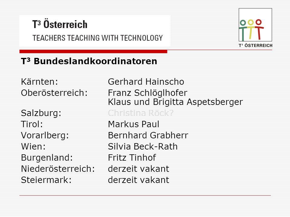 T 3 Bundeslandkoordinatoren Kärnten: Gerhard Hainscho Oberösterreich: Franz Schlöglhofer Klaus und Brigitta Aspetsberger Salzburg: Christina Röck.