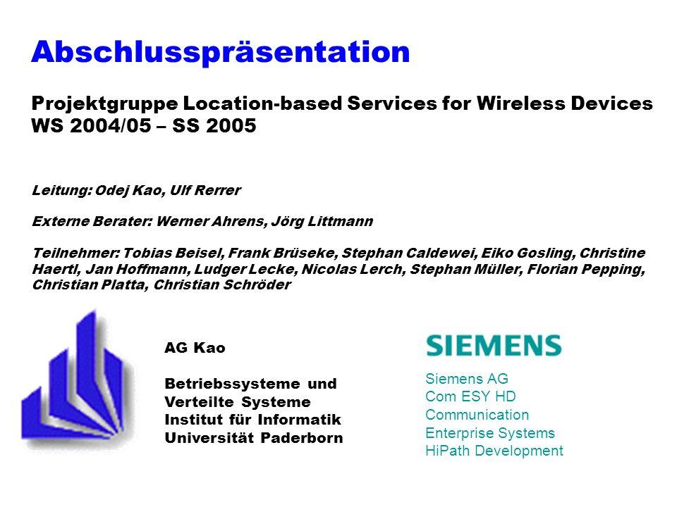 12 19.10.05 Projektgruppe Location-based Services Location-Server Messkarte (2) Einführung Architektur Dienste LIVE Demo Fazit Architektur