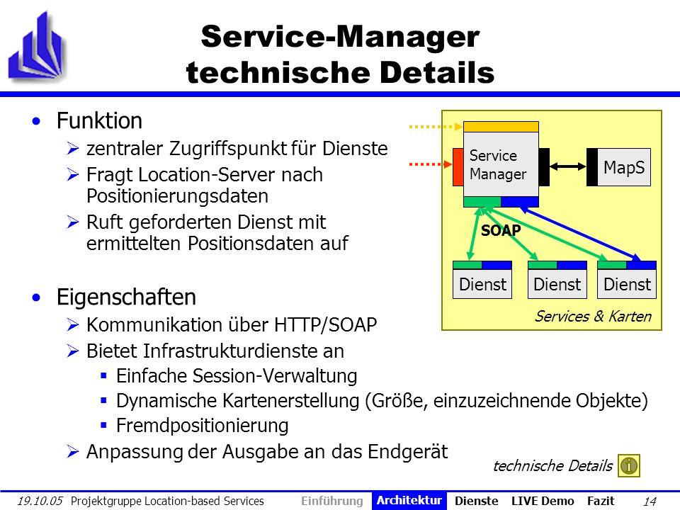 14 19.10.05 Projektgruppe Location-based Services Service-Manager technische Details Funktion zentraler Zugriffspunkt für Dienste Fragt Location-Serve