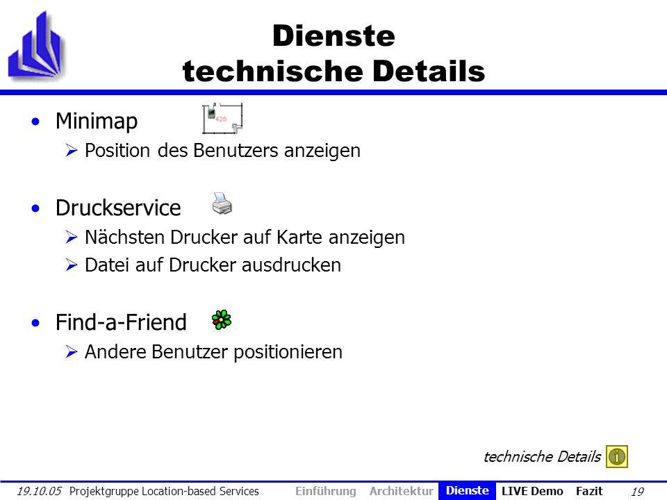 19 19.10.05 Projektgruppe Location-based Services Dienste technische Details Minimap Position des Benutzers anzeigen Druckservice Nächsten Drucker auf