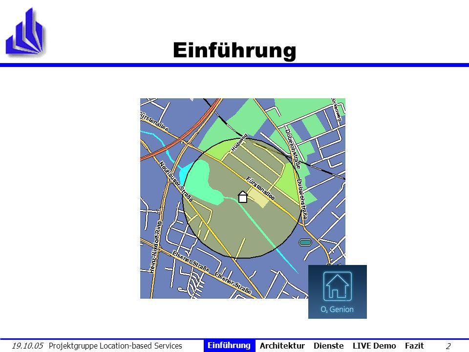 3 19.10.05 Projektgruppe Location-based Services Auswahl Dienst 1 2 3 Szenario Positionie- rung Dienst- verwaltung Gerät Position PDA1 (65, 7, 9) PDA2 (28,14,3)...