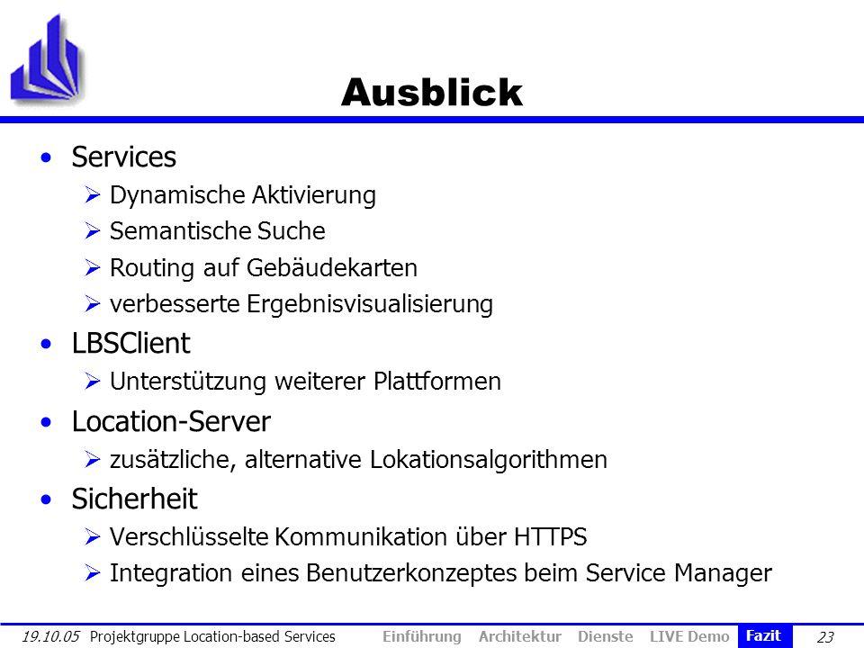 23 19.10.05 Projektgruppe Location-based Services Ausblick Services Dynamische Aktivierung Semantische Suche Routing auf Gebäudekarten verbesserte Erg