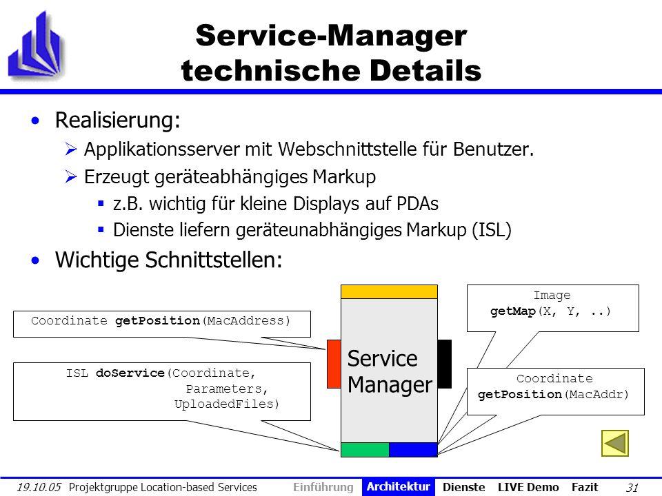 31 19.10.05 Projektgruppe Location-based Services Service-Manager technische Details Realisierung: Applikationsserver mit Webschnittstelle für Benutze