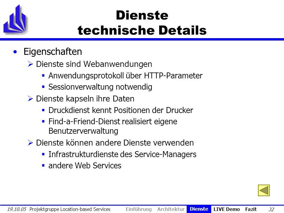 32 19.10.05 Projektgruppe Location-based Services Dienste technische Details Eigenschaften Dienste sind Webanwendungen Anwendungsprotokoll über HTTP-P