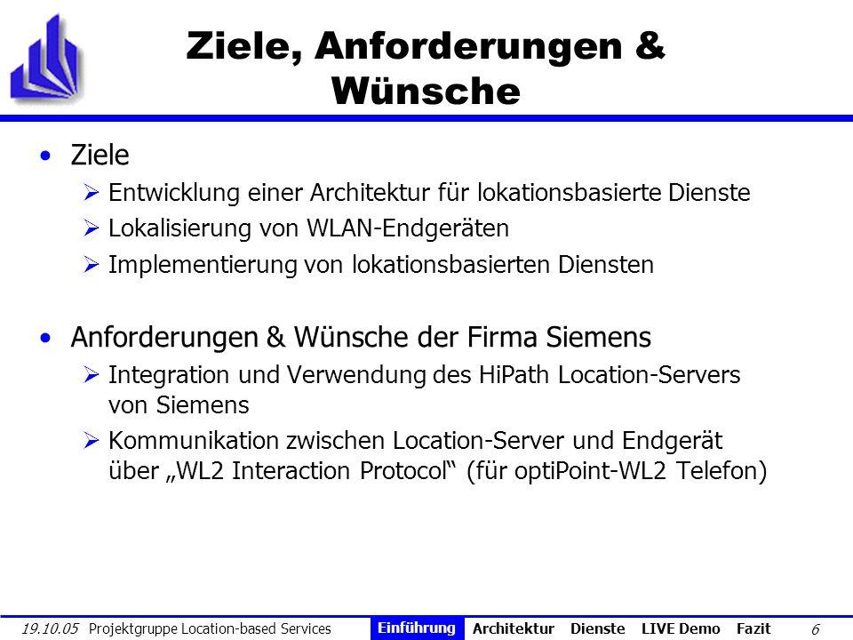 6 19.10.05 Projektgruppe Location-based Services Ziele, Anforderungen & Wünsche Ziele Entwicklung einer Architektur für lokationsbasierte Dienste Loka