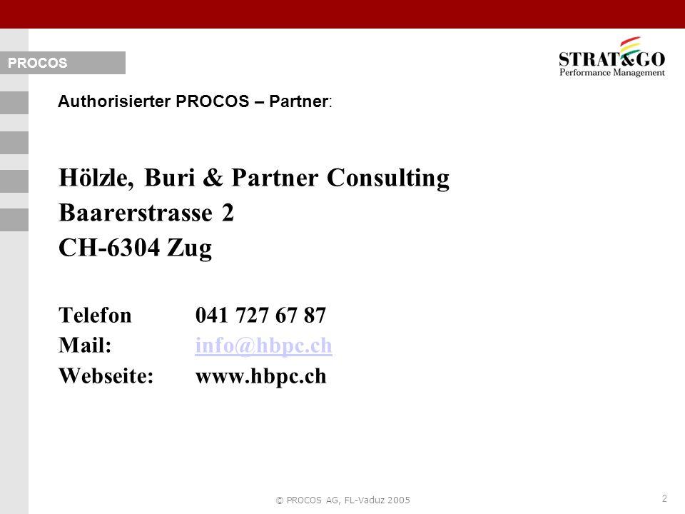 2 © PROCOS AG, FL-Vaduz 2005 Authorisierter PROCOS – Partner: Hölzle, Buri & Partner Consulting Baarerstrasse 2 CH-6304 Zug Telefon 041 727 67 87 Mail: info@hbpc.chinfo@hbpc.ch Webseite:www.hbpc.ch PROCOS