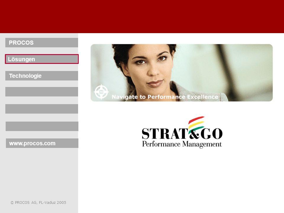 4 © PROCOS AG, FL-Vaduz 2005 STRAT & GO – Lösungen SBS – Business Scorecard SBP – Business Planner SBA – Business Analyser